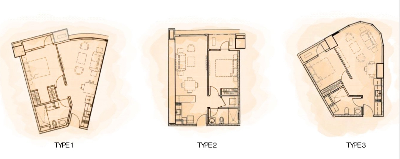 1-bedroom 42-56 sqm