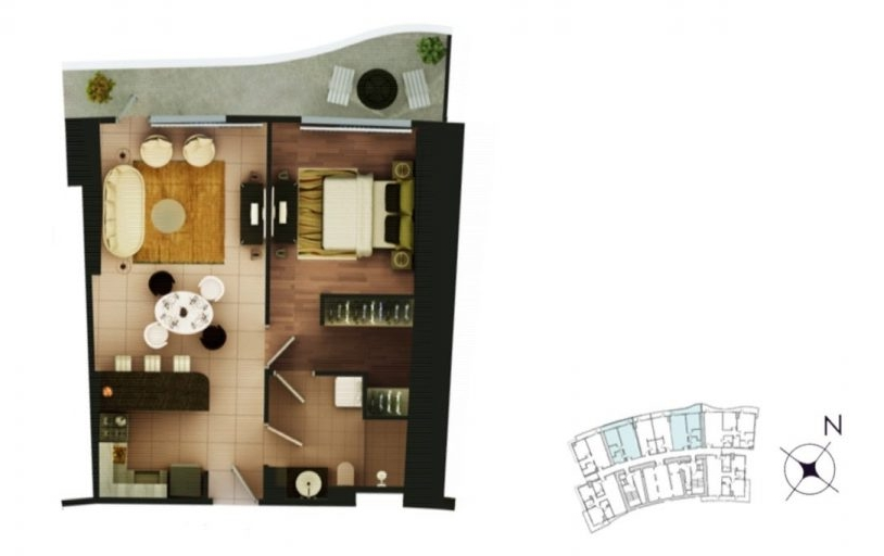 1-bedroom 60-75 sqm